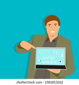 Man holding laptop cartoon character