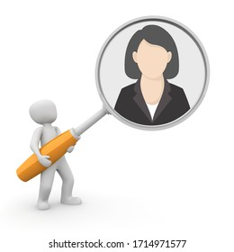 Man holding looking glass seeing glass or magnifying glass putting businesswoman or woman in the spotlight or under scrutiny 3D illustration