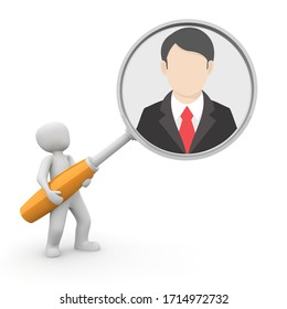 Man holding looking glass seeing glass or magnifying glass putting businessman in the business spotlight or under scrutiny 3D illustration