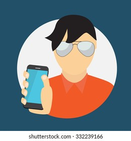 A Man Holding a Mobile Phone. Communication Concept. Illustration.