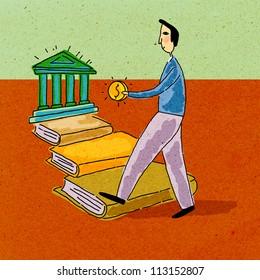 A man holding money, walking along a path of books towards a bank