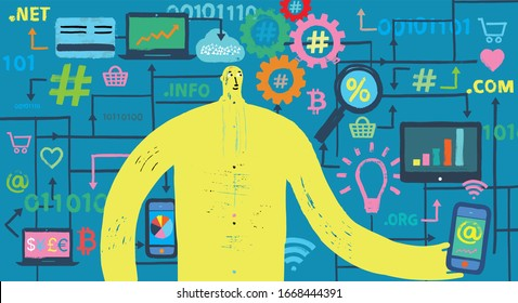 Man holding smartphone with SEO and Fintech icons in background, crypto, cryptography, bitcoin, cyber security, protection, information, yellow body, technology, symbols, grunge texture, illustration