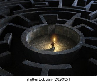 Man holding a torch in the middle of a mysterious maze