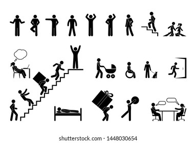 man icon, different situations, pictogram people, stick figure character set, climb stairs signs