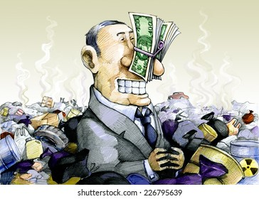 a man immersed in the trash, plugging his nose with money
