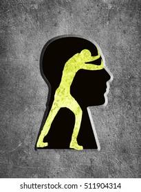 man inside me psychology concept digital illustration