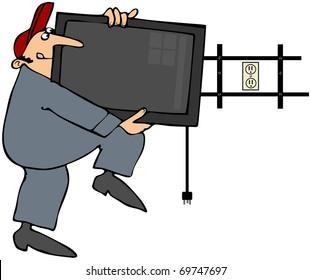 Man Installing Flat Screen TV