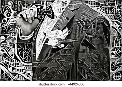 Man in jacket with bow tie. Monochrome abstraction of geometric elements. In the style of modern cubism and futurism. Executed in oil on canvas with elements of acrylic painting and pencil sketches.