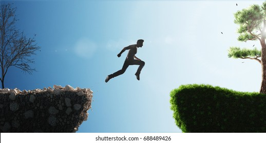 Man jump from past to future, render illustration 3d