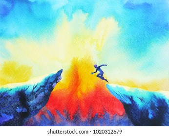 man jumping leap over to success power, abstract world universe inside your mind, watercolor painting art hand drawn
