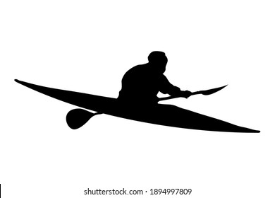 man in a kayak with a paddle. black silhouette isolated on white