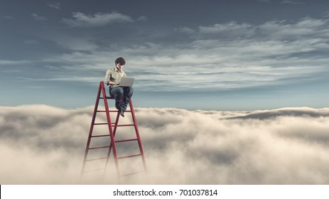Man with a laptop on a ladder above the clouds. Success business and ambitions concept. This is a 3d render illustration