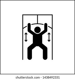 Man lat pulldown gym with arrow pictogram