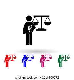 man with law degree multi color icon. Simple glyph, flat of student degree icons for ui and ux, website or mobile application