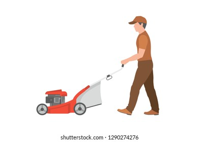Man with lawnmower. isolated on white background