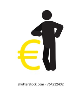 Man lean on yen sign silhouette icon. Businessman, analyst, economist, financier, marketer, manager. Successful and confident person. Isolated raster illustration