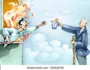 a man leans shouting from a window in flames screaming for help, another on top of a ladder helps him, handing him a small pitcher of water