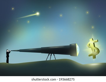 Man with a Long Telescope viewing Dollar Sign. Conceptual Illustration.