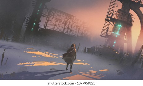 man looking at abandoned factory in a cold winter morning, digital art style, illustration painting