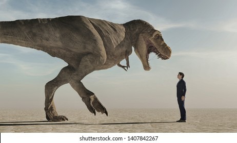 Man looking up to an aggressive dinosaur , Tyrannosaurus Rex. The concept of courage. This is a 3d render illustration