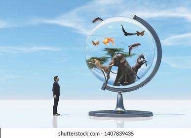 Man looking up to a globe with wildlife elements and animals. This is a 3d render illustration