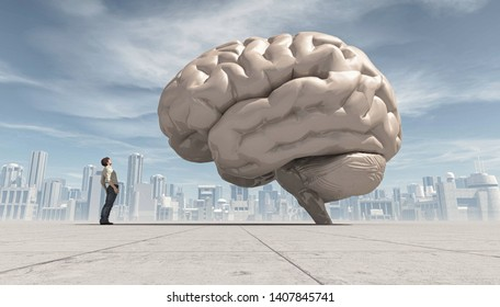 Man looking up to an oversized human brain, with a city far away in the background. This is a 3d render illustration