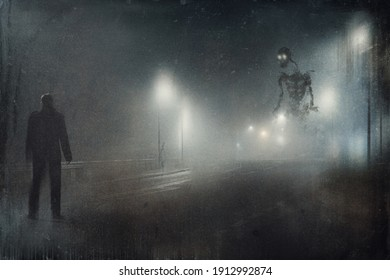 A man looking at a scary giant skeleton with glowing eyes on a road silhouetted by lights on a misty winters night. With a abstract, vintage edit.