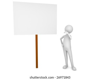 Man looking at the sign board