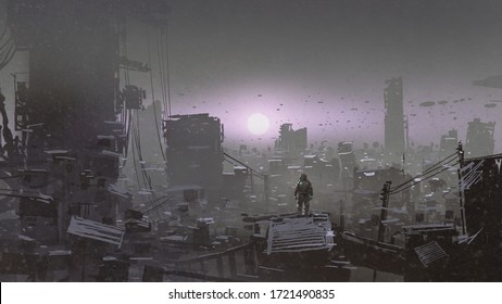 man looking at sunset on a rooftop of the building in the post-apocalyptic world, digital art style, illustration painting