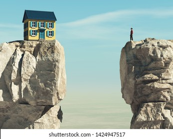 Man looks to a house over a gap between two mountain peaks.  3d render illustration