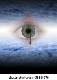 Man looks into eye of god in ethereal space