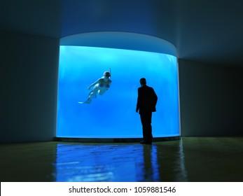 man looks into the ocean through an underwater window, 3d illustration