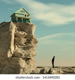 Man looks up to a mountain to a house. House at the edge of the mountain cliff. This is a 3d illustration.