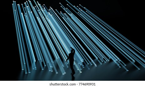 man looks at the rays of light, 3d illustration