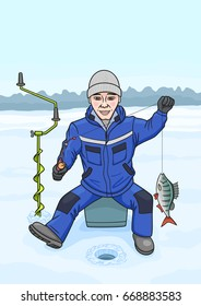 The man loves to fish from the ice in winter. Bitmap copy.