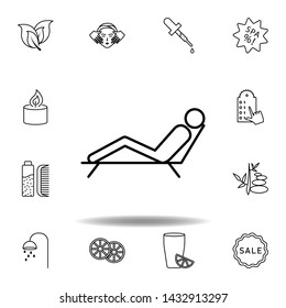 man lying on deck chair of spa outline icon. Detailed set of spa and relax illustrations icon. Can be used for web, logo, mobile app, UI, UX