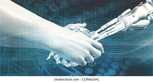 Man and Machine Robot Hand Handshake as Tech Concept 3D Render