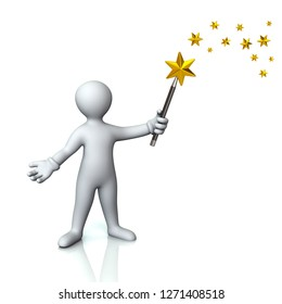 Man with magic wand and golden stars 3d illustration on white background