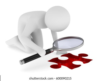 Man with magnifier on white background. Isolated 3D image.