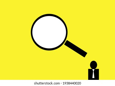 Man and magnifier on Yellow background design for Recruitment or staff selection for find right person in business team. team hiring. Search for employees and human resources. Find team icon.
