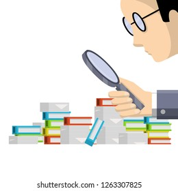 A man with a magnifying glass looking at a stack of colored books and reports. Auditor and Paper file document. The work of the accountant and finding mistakes in the text.