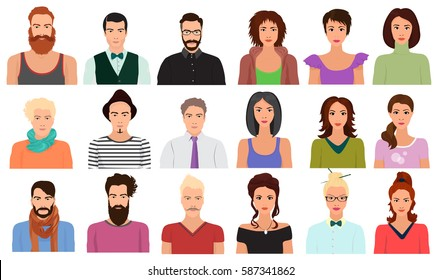 Man Male and Female woman character faces avatar icon in different clothes  hair styles set.