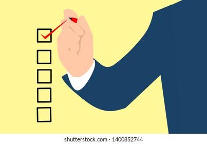 man marking check box and make selection