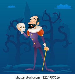Man medieval suit tragic actor theater stage retro cartoon character  illustration