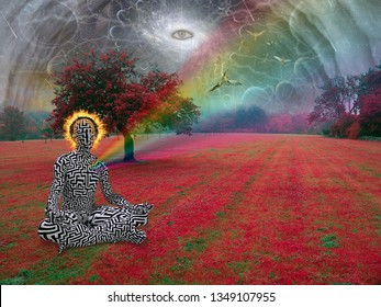 Man meditates in lotus pose. All seeing eye and angel in the sky above surreal landscape. 3D rendering