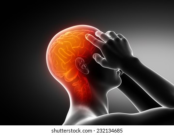 Man migraine headache concept on black