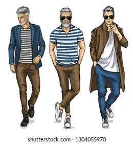 man models dressed in jeans, sketch, hipster outfit
