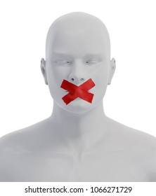 Man with Mouth Sealed on Duct Tape. Freedom of Speech Concept. 3D illustration