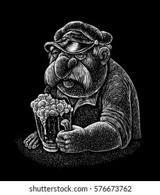 A man with a mustache and a cap sitting at the bar with a  big glass of beer. stylized comic illustration big glass of beer