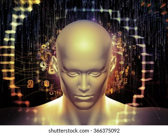 Man of Number series. Background design of human head, numbers and visual elements on the subject of human mind, modern technology, education and science
